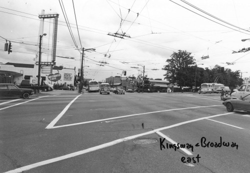 "Vancouver Transportation Division. ""Kingsway and Broadway [looking] East,"" between 1980 and 1997. COV-S505-1-: CVA 772-962. Image courtesy of the City of Vancouver Archives."